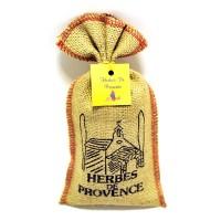 Dans un sac de toile indienne, découpé et cousu à Eyguières, retrouvez une sélection d'herbes de Provence réellement récoltées dans la région.