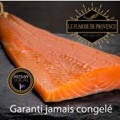 Bande de saumon de Norvège fumé tranché sur peau, 0,9/1,2kg